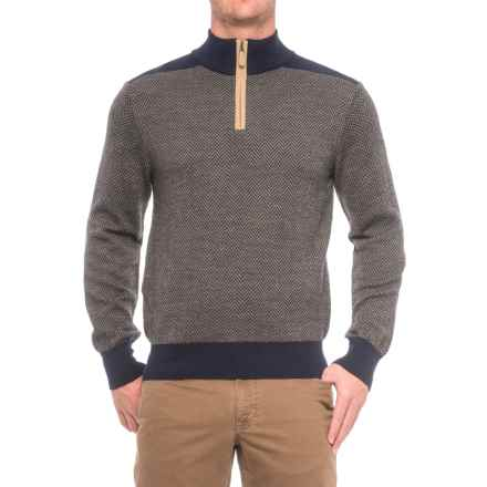 Baby Alpaca Gents Herringbone Sweater - Zip Neck (For Men) in Navy - Closeouts