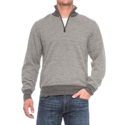 Baby Alpaca Herringbone Sweater - Zip Neck (For Men) in Grey/Sliver - Closeouts