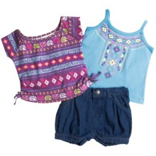 Baby Togs Tank Top, T-Shirt and Shorts Set - 3-Piece (For Toddler Girls) in Purple Multi - Closeouts