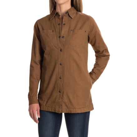 Backpacker Canvas and Flannel Shirt Jacket - Snap Front (For Women) in Brown - Closeouts