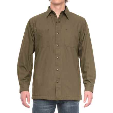Backpacker Cotton Canvas Shirt Jacket - Fleece Lined (For Men) in Moss - Closeouts
