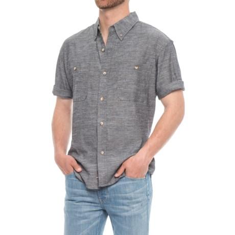 Backpacker Slub Chambray Shirt - Short Sleeve (For Men) in Black