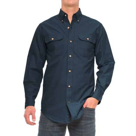 Backpacker Solid Flannel Shirt - Long Sleeve (For Men) in Navy