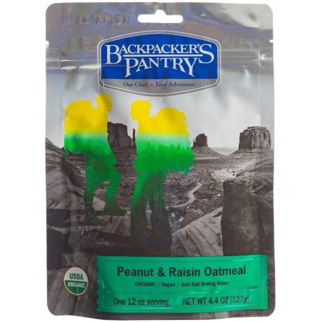 Backpacker's Pantry Organic Peanut and Raisin Oatmeal - 1 Serving in See Photo