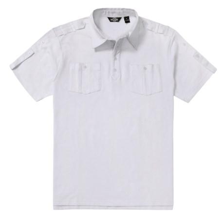 Backstage Cotton Polo Shirt - Woven Twill Trim, Short Sleeve (For Men) in White