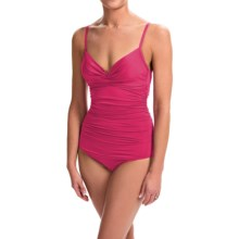 Badgley Mischka Shirred Mio One-Piece Swimsuit (For Women) in Rose - Closeouts