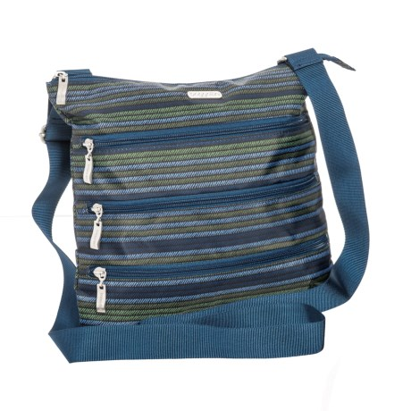 baggallini Slim Zipper Crossbody Bag (For Women) in Moss Stripe
