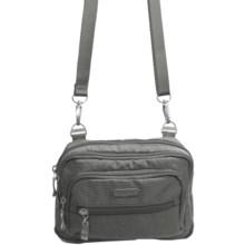 baggallini Triple Zip Crossbody Bag in Pewter Zebra Emboss - Closeouts