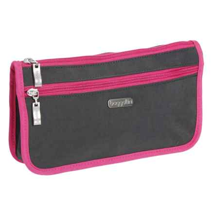baggallini Wedge Cosmetic Case - Large (For Women) in Charcoal/Fuchsia - Closeouts