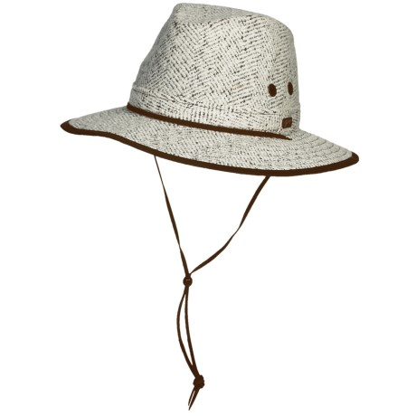 Bailey Dominion Outback Hat - Pinch Crown (For Men and Women) in Brown/Cream