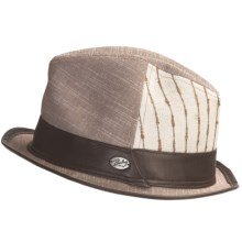 Bailey of Hollywood Belvis Linen Fedora Hat (For Men) in Bark - Closeouts