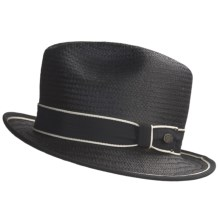 Bailey of Hollywood Drake Straw Fedora Hat (For Men) in Black/Ivory - Closeouts