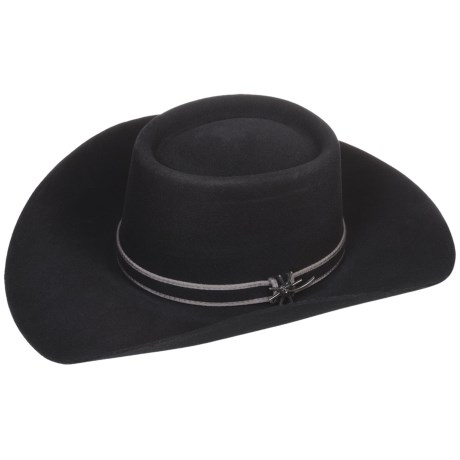 Bailey Ramrod Cowboy Hat - 3X Wool Felt, Telescope Crown (For Men and Women) in Black