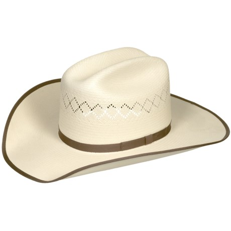 Bailey Riley Cowboy Hat - 20X Shantung Straw, Cattleman Crown (For Men and Women) in Ivory