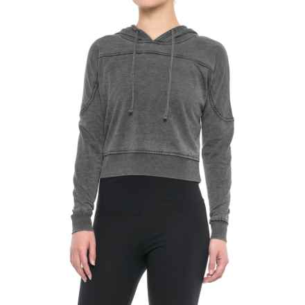 Balance Collection Amy Crop Fleece Hoodie (For Women) in Charcoal W Black - Closeouts