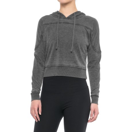 Balance Collection Amy Crop Fleece Hoodie (For Women) in Charcoal W Black