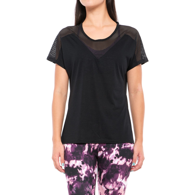Balance Collection Black Brandy Shirt - Semi-Sheer Trim, Short Sleeve (For Women)