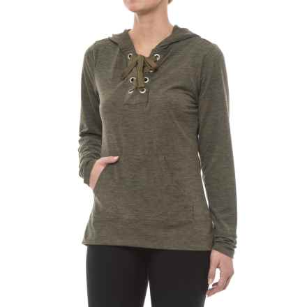Balance Collection Danique Hooded Shirt - Long Sleeve (For Women) in Heather Burnt Olive - Closeouts