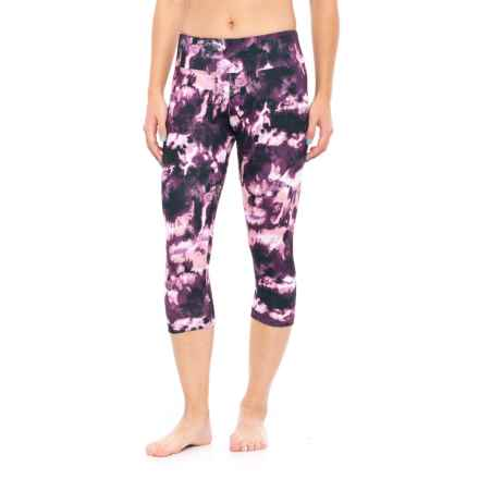 Balance Collection Printed Capri Leggings (For Women) in Deep Purple - Closeouts
