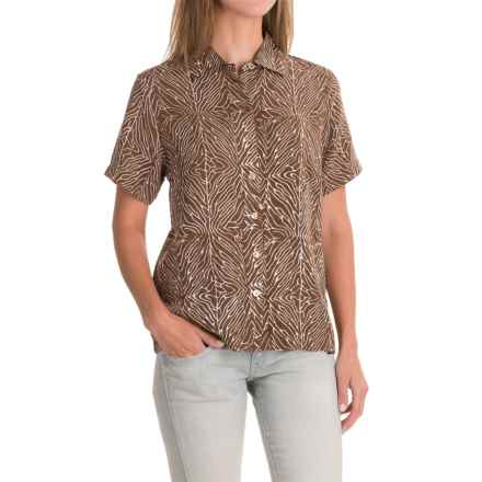 Bali Print Rayon Camp Shirt - Short Sleeve (For Women) in Brown Print - Closeouts