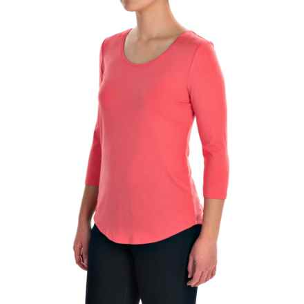 Ballet Neck Knit Shirt - 3/4 Sleeve (For Women) in Begonia - 2nds