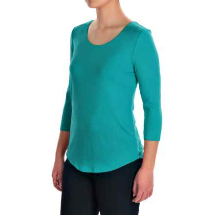 Ballet Neck Knit Shirt - 3/4 Sleeve (For Women) in Emerald - 2nds