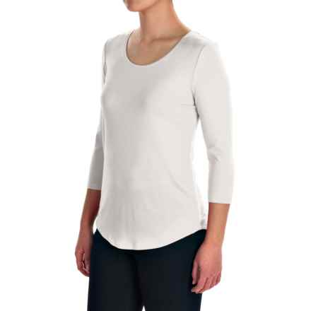 Ballet Neck Knit Shirt - 3/4 Sleeve (For Women) in White - 2nds