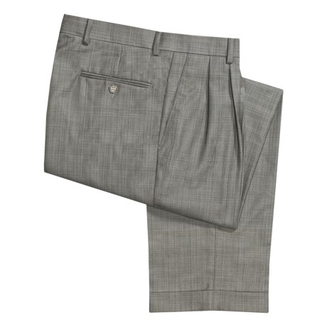 Ballin Dover Multi-Check Dress Pants - Pleated, Cuffed (For Men) in Taupe