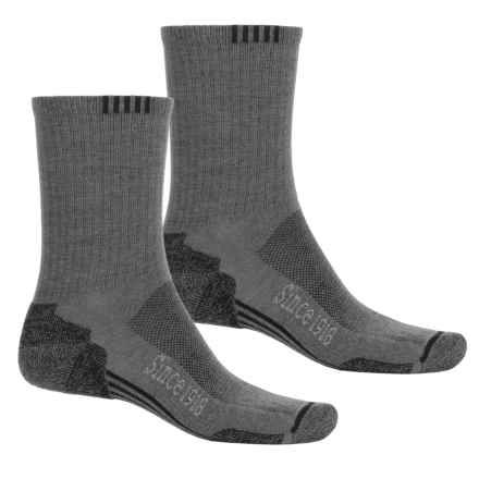 Ballston Endurance Outdoor Socks - 2-Pack, CoolMax®, Crew (For Men and Women) in Light Gray/Black - Closeouts