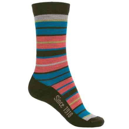 Ballston Folklore City Stripe Socks - Merino Wool, Crew (For Women) in Coral/Green - Overstock