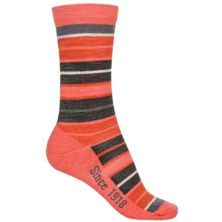 Ballston Folklore City Stripe Socks - Merino Wool, Crew (For Women) in Coral - Overstock