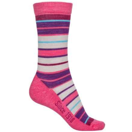 Ballston Folklore City Stripe Socks - Merino Wool, Crew (For Women) in Dark Pink - Overstock