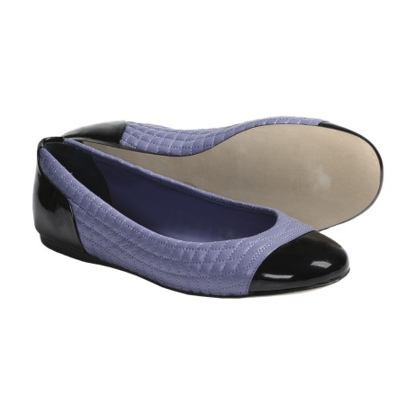 Bally Triade Quilted Leather Flats (For Women) in Black Patent/Periwinkle