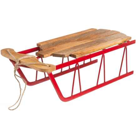 """Balsam & Fir Decorative Wood and Iron Sled - 17.5x5.6"""" in Natural/Red - Closeouts"""