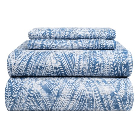 Bambeco Ashbury Organic Cotton Distressed-Print Sheet Set - King, 200 TC in Blue