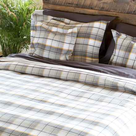 Bambeco Brigham Plaid Flannel Duvet Cover - King, Organic Cotton in Gray/Gold - Closeouts