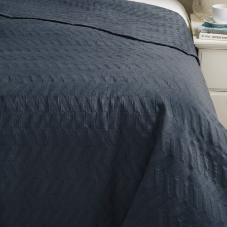 Bambeco Chevron Matelasse Coverlet - Organic Cotton, Full-Queen in Indigo