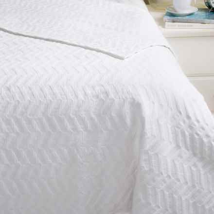 Bambeco Chevron Matelasse Coverlet - Organic Cotton, Full-Queen in White - Closeouts