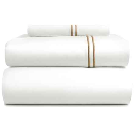 Bambeco Contrast Satin Stitch Organic Cotton Sheet Set - Twin, 500 TC in White/Flax - Closeouts