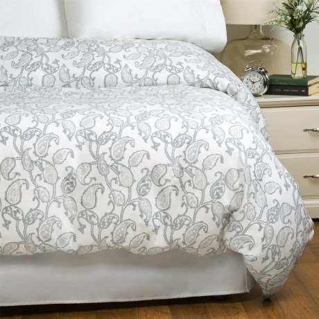Bambeco Emma Paisley Cloud Duvet Cover - Full-Queen, 100% Organic Cotton in Cloud