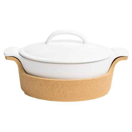 Bambeco Ensemble Collection Covered Casserole Dish with Cork Tray in White - Closeouts