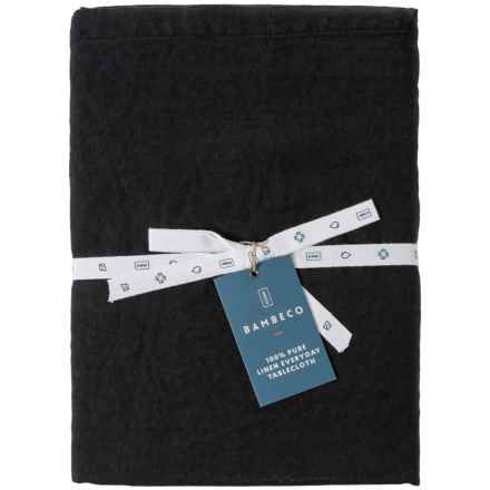 """Bambeco Everyday Linen Round Tablecloth - 90"""" in Black - Closeouts"""
