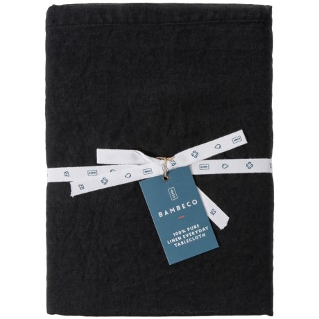 """Bambeco Everyday Linen Round Tablecloth - 90"""" in Black"""
