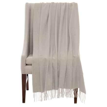"""Bambeco Fine Herringbone Wool Throw Blanket - 51x71"""" in Beige/Grey - Closeouts"""