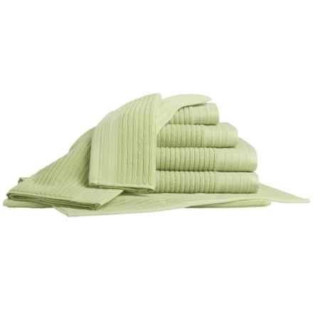 Bambeco Jacquard Rib Bath Towel Set - Organic Cotton, 7-Piece in Aloe - Closeouts