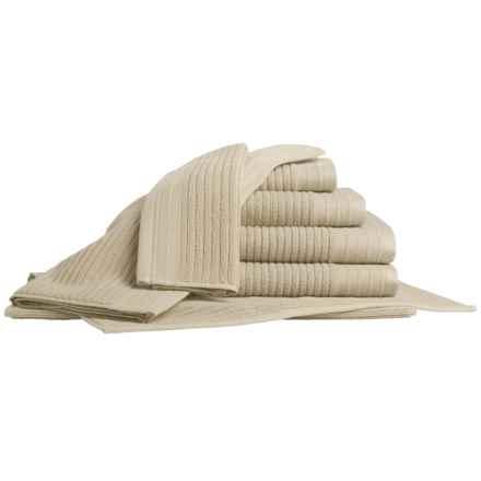 Bambeco Jacquard Rib Bath Towel Set - Organic Cotton, 7-Piece in Flax - Closeouts