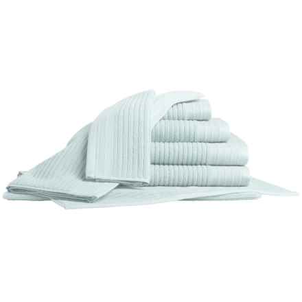 Bambeco Jacquard Rib Bath Towel Set - Organic Cotton, 7-Piece in Ice - Closeouts
