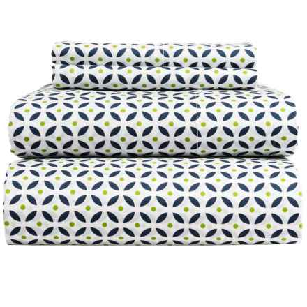 Bambeco Kaleidoscope Organic Cotton Sheet Set - Queen in Blue/Green - Closeouts