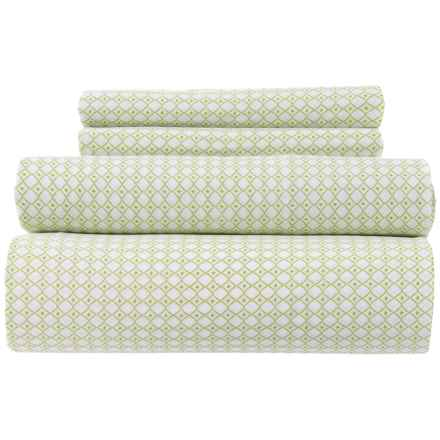 Bambeco Made in Portugal Green Petite Diamond Sheet Set - Full, Organic Cotton in Green - Closeouts