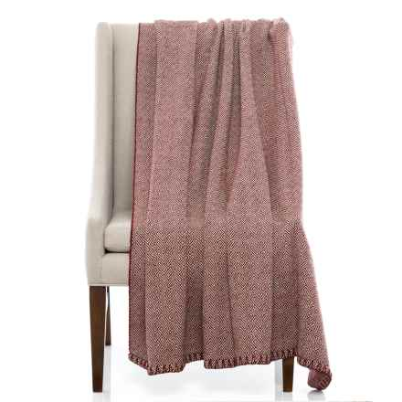 """Bambeco Maze Print Wool Throw Blanket - 51x71"""" in Port - Closeouts"""